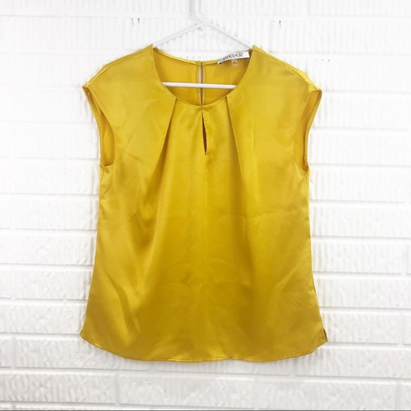 KASPER yellow satin short sleeve blouse